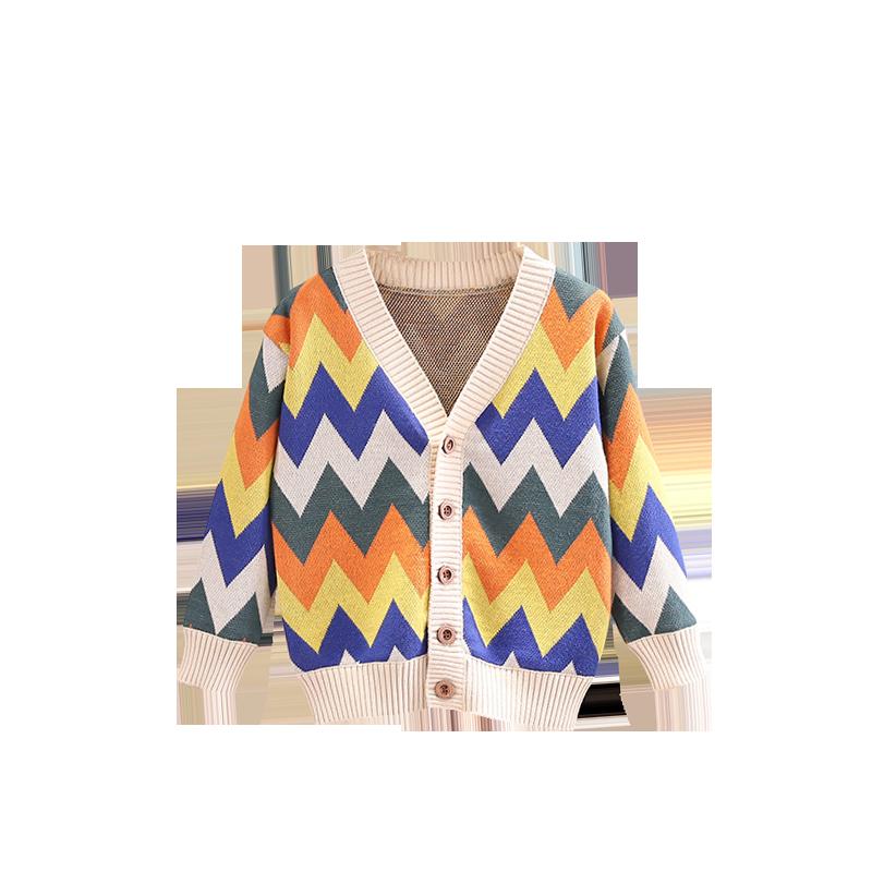 儿童2020年秋季新款菱形彩虹条纹V领针织外套男女宝宽松开衫毛衣