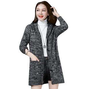 中長款加絨加厚針織開衫連帽毛衣女外套2020秋冬新款寬鬆女裝外搭