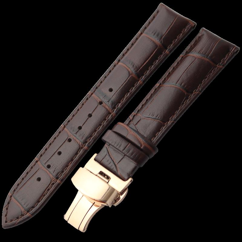表带真皮男蝴蝶扣手表带女针扣代用浪琴dw卡西欧天梭依波天王表带