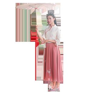 少女汉服女装现代学生古装女夏季薄款超仙立领齐腰无尽夏汉服短款