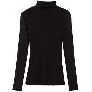 秋冬高領網紗加絨打底衫女長袖修身簡約百搭小衫內搭純色T恤紗衣