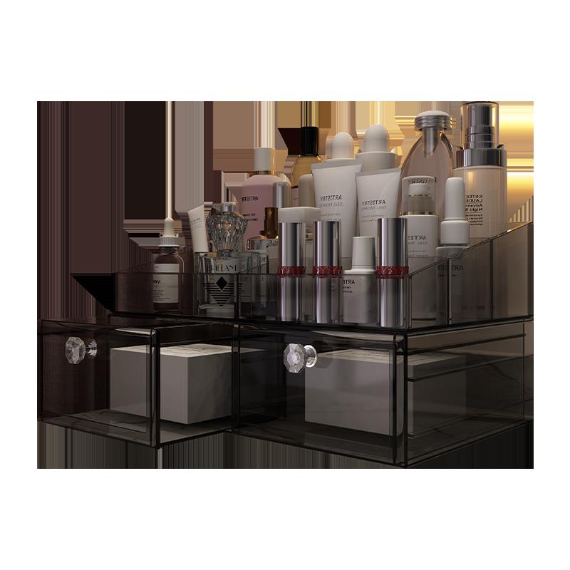 福多格网红透明化妆品收纳盒桌面整理架梳妆台口红护肤品置物架