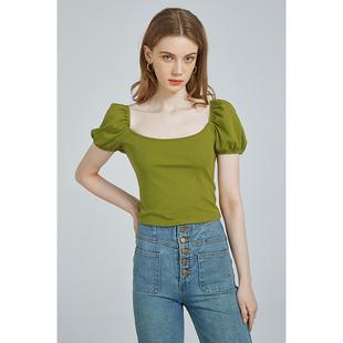 夏新款 法式方領高腰短款t恤女顯白牛油果綠泡泡袖露鎖骨顯瘦上衣