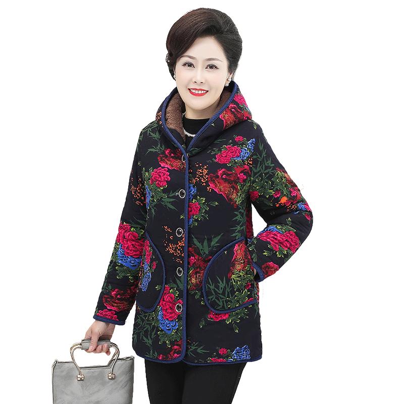 妈妈冬装外套加厚老太太棉袄奶奶羽绒棉服短款上中老年人女装棉衣