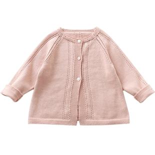Elfairy寶寶毛衣外套嬰兒秋裝薄針織衫女童開衫洋氣上衣1-3歲春秋