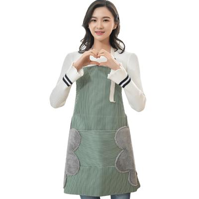 家用可擦手防水围裙女时尚可爱围腰日式厨房大人做饭防油罩衣男女