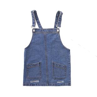 女童牛仔揹帶裙連衣裙2020新款洋氣時尚夏裝套裝兒童中大童吊帶裙