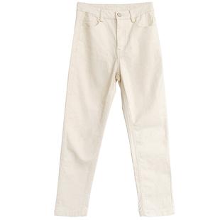 恩家匯 白色牛仔褲女2020春季新款直筒高腰寬鬆顯瘦小腳九分褲