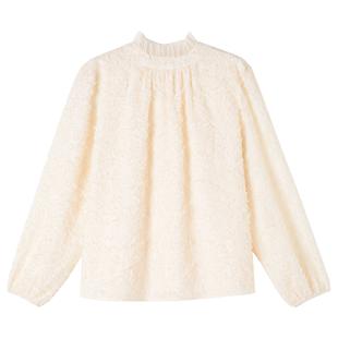 2020秋冬季新款雪紡衫女加絨蕾絲打底衫高領襯衫甜美內搭洋氣上衣