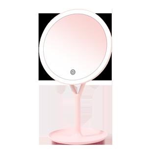 化妆镜台式led灯日光镜学生宿舍桌面可立梳妆镜大号充电家用网红