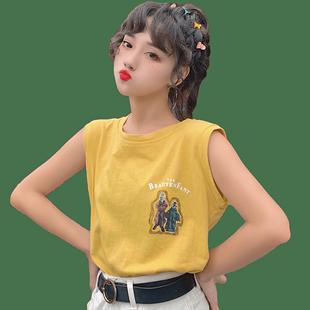 純棉泫雅mschf吊帶背心女夏ins外穿無袖t恤韓版學生寬鬆港味上衣