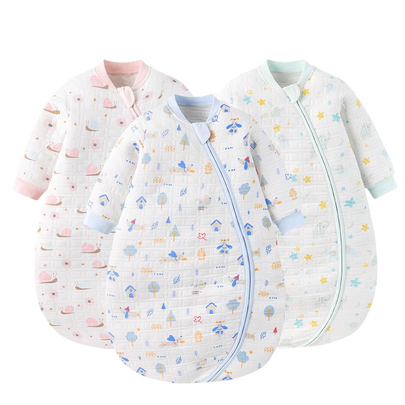gb好孩子婴儿睡袋四季通用薄款儿童防踢分腿睡袋新生宝宝纯棉