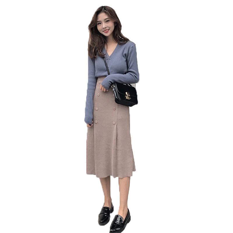 2019新款针织裙子很仙的御姐女神范套装裙洋气显瘦两件套时髦套装