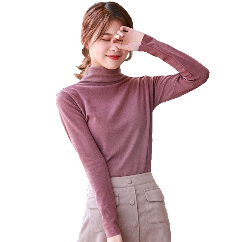 梦芭蕾中长款打底衫女阳离子秋冬新款纯色半高领长袖打底宽松显瘦