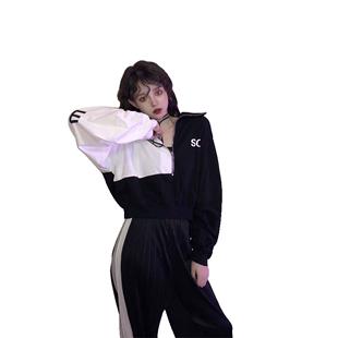 早春2020韓版套頭衞衣女cec慵懶風薄款寬鬆長袖t恤拉鍊外套ins潮