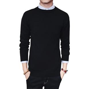男士韩版修身圆领纯色打底衫潮毛衣