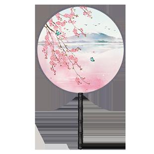 雙面團扇中國風漢服古風長柄女式舞蹈扇旗袍宮古典扇圓形扇子流蘇