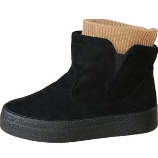 人本雪地靴女生百搭加絨保暖短靴2019冬季新款韓版潮流學生棉鞋子