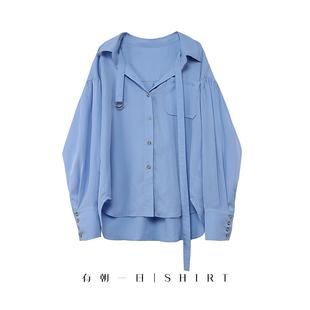 裴秀智林允兒明星同款燈籠袖法國小眾設計感露鎖骨襯衫藍色女秋季