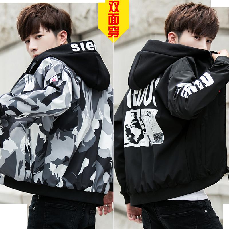男夹克2019秋冬季韩版青少年双面穿迷彩帅气潮流男士外套加绒上衣