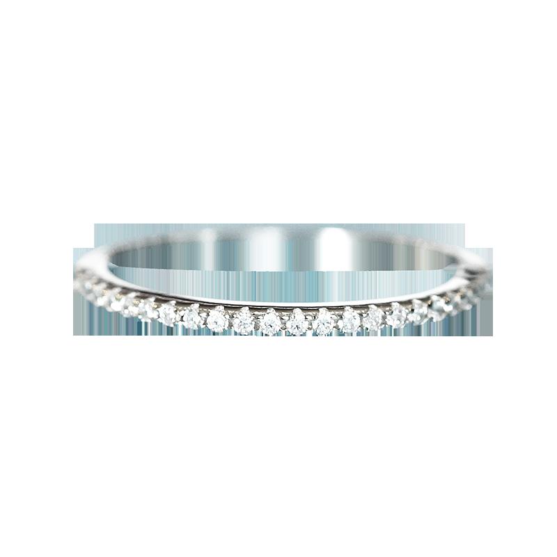 唐奢S925纯银镀18K白金网红单排仿真钻石戒指女简约气质时尚个性