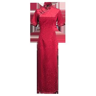 紅色長款旗袍真絲桑蠶絲高端年會走秀改良版旗袍連衣裙中式禮服