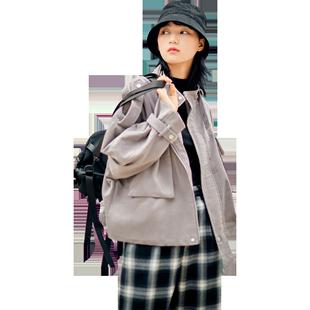 樂町官方旗艦店燈芯絨短外套2020年秋季新款工裝風短外套女寬鬆潮