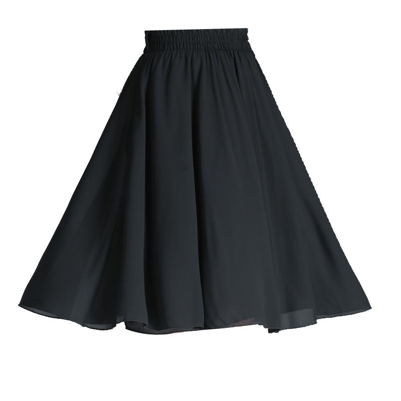 白色半身裙a型中长款女夏雪纺高腰a字过膝短裙百褶裙法国小众裙子