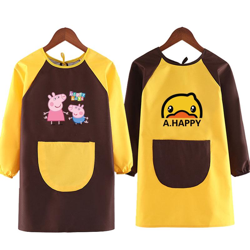 儿童罩衣长袖防水幼儿园绘画衣画画反穿衣吃饭围兜定制美术用围裙