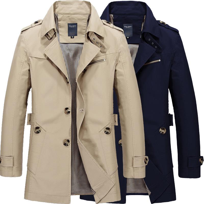 风衣男中长款秋冬季新款韩版潮流修身帅气大衣男士外套纯棉夹克男