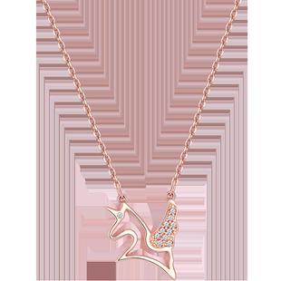 採用施華洛世奇元素輕奢獨角獸項鍊女純銀潮小眾設計感網紅鎖骨鏈