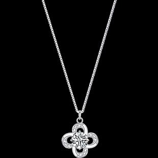 採用施華洛世奇元素四葉草項鍊女純銀鎖骨鏈2020年新款小眾設計感