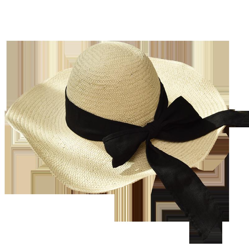 草帽女夏沙滩防晒大檐草帽海边度假折叠遮阳帽韩版太阳帽子潮