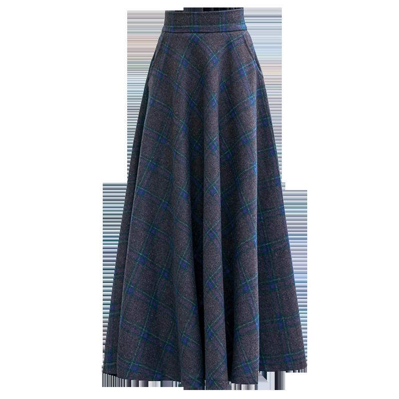 高腰长款伞裙大码羊毛大摆裙子