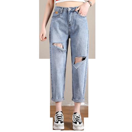 高腰夏季2019新款韩版直筒裤牛仔裤