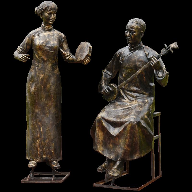 玻璃钢人物雕塑民风俗文化步行街公园广场旅游景区下象棋仿铜雕塑