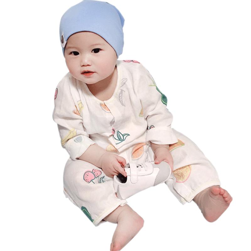芭咪乐婴幼儿春秋纯棉纱布连体衣宝宝春夏透气连体家居儿童空调服