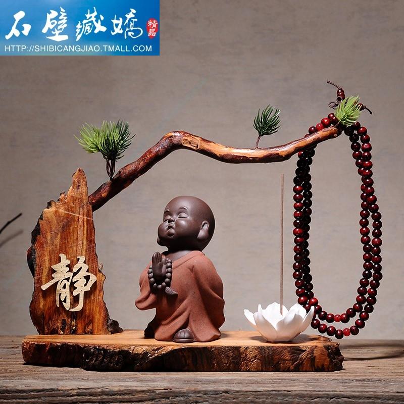 。办公桌上的茶宠小和尚摆件风化木创意养财源个性禅意商务礼中式