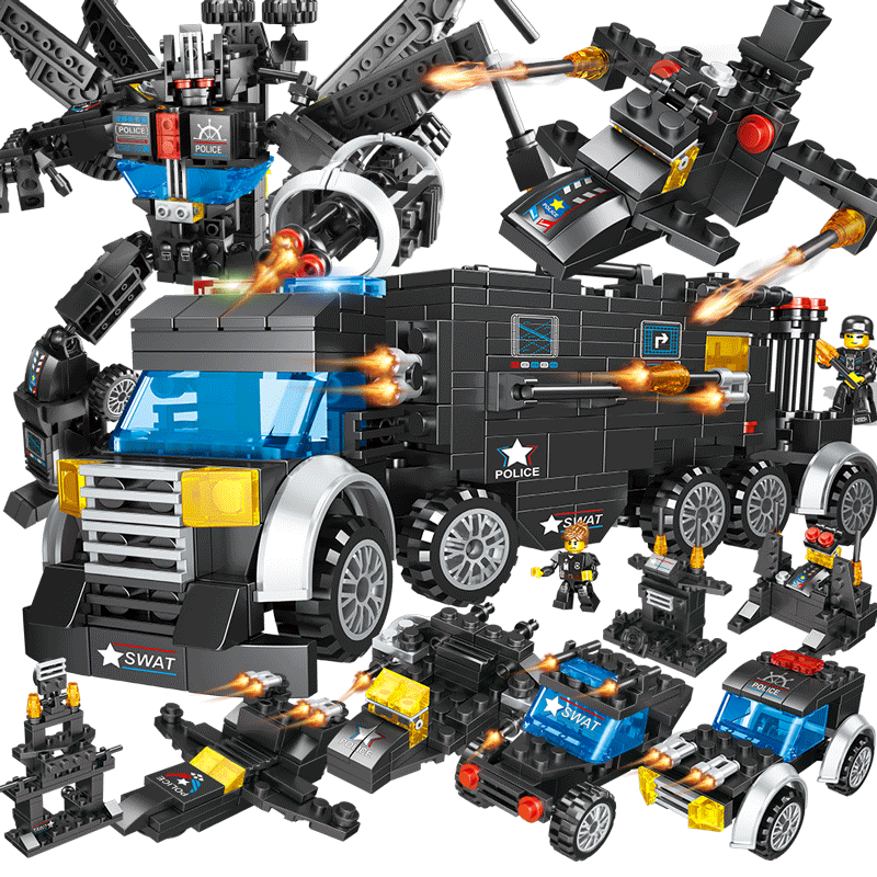 儿童兼容樂高小颗粒积木男孩子拼装益智智力动脑玩具模型6-10岁7