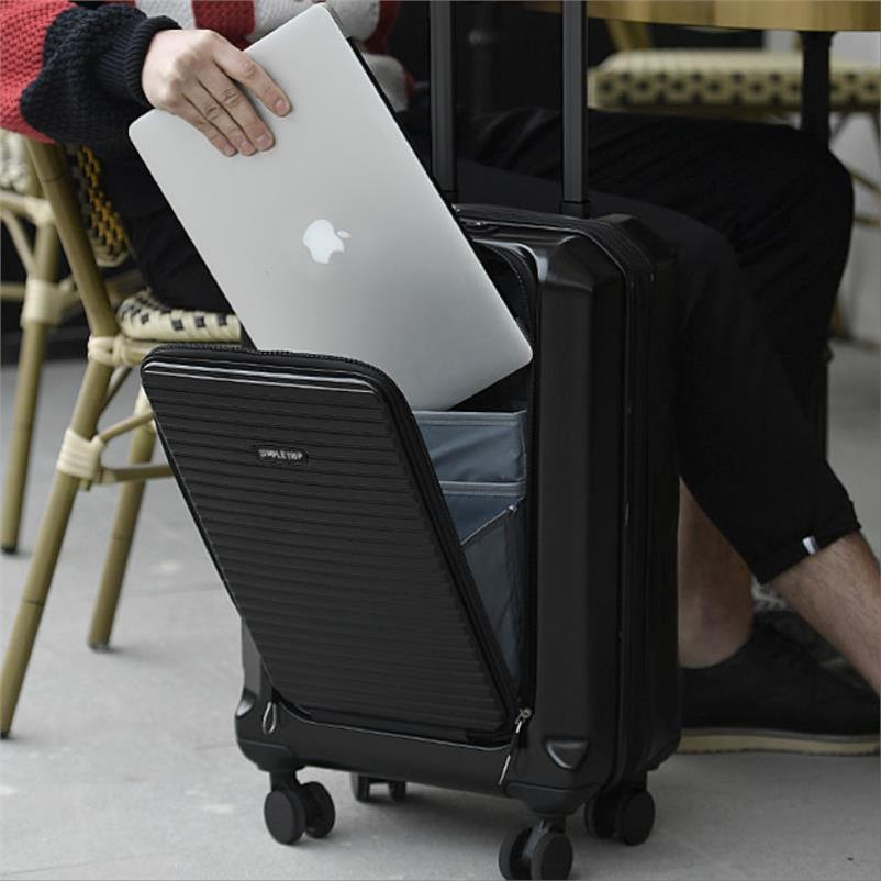 Front open cover trolley case front laptop male 20 inch expandable business luggage mute light boarding