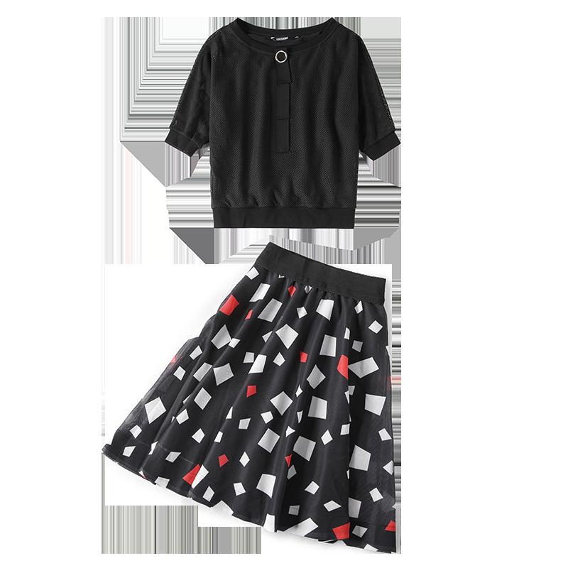 RMO&JUL2019春夏女装新款 蝙蝠袖网格上衣+几何图案半身裙套装TG