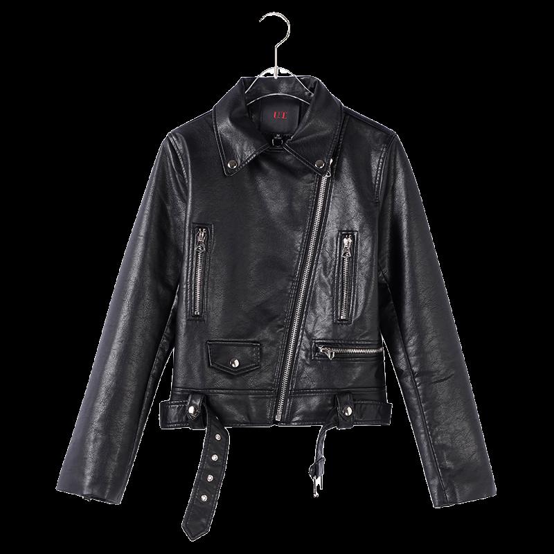 网红同款2020年春季短款皮衣女翻领长袖修身显瘦机车PU皮夹克外套
