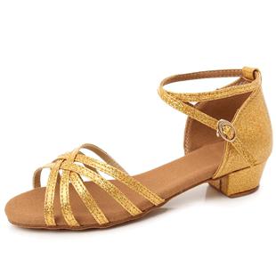 拉丁舞鞋儿童女孩中跟软底银色舞蹈鞋女初学者专业演出女童跳舞鞋