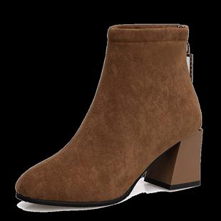側拉鍊雪地靴2020冬季新款女中筒靴子羊毛加厚平底保暖棉鞋