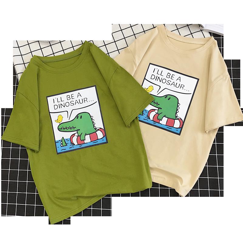 短袖t恤女2019新款夏装韩版宽松学生绿色ins潮半袖上衣服中袖体恤