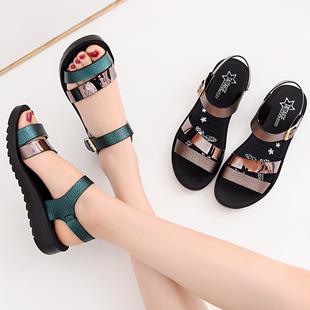 喬迪爾大東官方旗艦店2019新款女士媽媽鞋涼鞋子夏季中年中跟坡跟