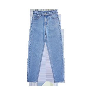 淺色加長牛仔褲女寬鬆直筒高個子超長新款bf風高腰顯瘦韓版哈倫褲