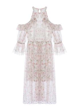 2021秋季新款女装法式超仙甜美气质荷叶边雪纺蕾丝a字碎花连衣裙