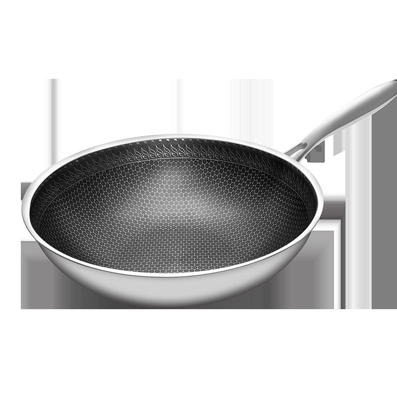 韩国升级316不锈钢炒锅蜂窝不粘锅