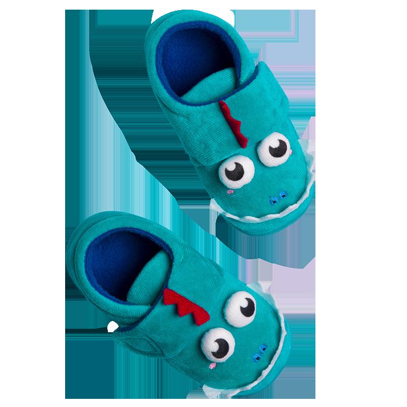 儿童棉拖鞋秋冬宝宝棉鞋男童女童可爱室内地板家居鞋防滑拖鞋包跟